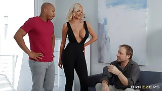 Black wood gives horn-mad blonde bombshell Nicolette Shea what she needs